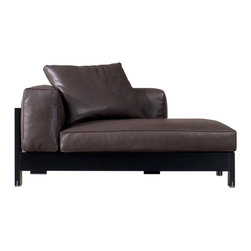 Minotti - Minotti Alison Black Chaise Lounge - Alison Black Lac. is aseating system designed for indoor use and characterized by a black matt lacquered exposed frame. The cushions are padded with goose down for excellent comfort. The feet are metal with a chrome finish. Available in fabric or leather fully removable upholstery. Price includes shipping to the USA. Manufactured by Minotti.