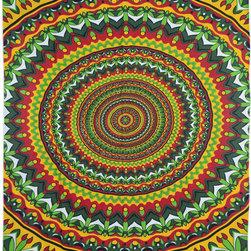 Multicolor Mandala Hippie Tapestry - Twin size Vibrant Multicolor Mandala Hippie Indian tapestry for dorm/livingroom/bedroom.
