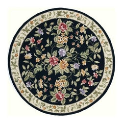 Momeni - Black Wildflower Print Hand-Hooked Wool Rug - Spencer SP-16 - 7.0 ft. in diameter. Hand hooked. 100% Wool. Care InstructionSpencer is a casual collection of hand-hooked rugs featuring soft floral, country, and contemporary designs. Made in China of 100% wool.