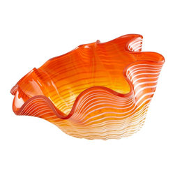 Cyan Design - Cyan Design Teacup Party Contemporary Decorative Bowl - Small X-50160 - A heavily ruffled body has been paired with striped detailing and vivid colors on this stylish Cyan Design decorative bowl. From the Teacup Party, this small decorative bowl features beautiful sunset colored glass, with heavy orange coloring that fades into a soft, lighter hue. Milky white stripes complete the look.