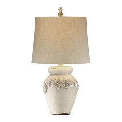 Bassett Mirror Company - Bassett Mirror L2321T Eleanore Table Lamp in Crackled Ivory Ceramic - Eleanore Table Lamp in Crackled Ivory Ceramic belongs to Old World Collection by Bassett Mirror Company Bassett Mirror is fluent in this art, showing a terrific contemporary furniture that will satisfy on the one hand fans of home coziness, and on the other hand - seekers of non-standard design solutions also. One of the many strengths of the Bassett Mirror is using high quality materials for perfect embodiment of brilliant design ideas. Lamp (1)