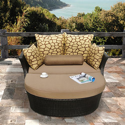 Sirio - Shotiva Outdoor Furniture Two-piece Set with Love Seat and Ottoman - Sit back, relax and enjoy the style, comfort and the durability of Shotiva by Sirio. This love seat features a heavy-duty aluminum frame with weather-resistant resin wicker and Sunbrella fabric.