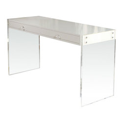 Custom Lucite Lacquered Desk - Lucite and white lacquer together — my dream! This desk is uber chic and will never go out of style.