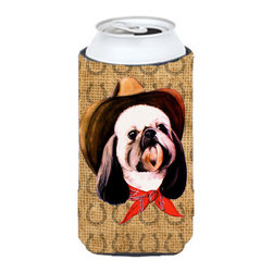 Caroline's Treasures - Shih Tzu Dog Country Lucky Horseshoe Tall Boy Koozie Hugger - Shih Tzu Dog Country Lucky Horseshoe Tall Boy Koozie Hugger Fits 22 oz. to 24 oz. cans or pint bottles. Great collapsible koozie for Energy Drinks or large Iced Tea beverages. Great to keep track of your beverage and add a bit of flair to a gathering. Match with one of the insulated coolers or coasters for a nice gift pack. Wash the hugger in your dishwasher or clothes washer. Design will not come off.