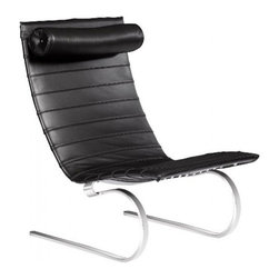 Fine Mod Imports - Lounge Chair Black Ribbed Leather - A sleek looking chair, elegant yet comfortable to relax in. With smoothly curved steel legs, rounded to allow slight rocking movement while relaxing in the Pika 20 Lounge Chair.