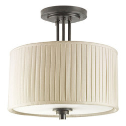 Thomasville Lighting - Thomasville Lighting P3759-84 Clayton 2 Light Semi-Flush Ceiling Fixture - Thomasville Lighting P3759-84 Two Light Clayton Semi-Flush Ceiling FixtureHighlighted by modern drum shades in Cream Linen Fabric with soft side pleats, this stylish dual light semi-flush ceiling fixture will add a contemporary flair to any room. Finished in Espresso, this traditionally rooted design is where classic vintage styling meets minimalistic lines.Classic vintage styling meets minimalist design. Clayton highlights a fresh look using arching arms, drum shades in a clean linen fabric and Espresso finish. Also features adjustable turnkey for customized shade directions.Thomasville Lighting P3759-84 Features: