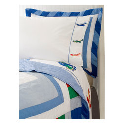 Pem America - Fly Away Queen Sheet Set - Let that little pilot take flight with Fly Away, a bright and fun style!  This quality pattern features plane icons on the hem of the sheets.  The detail will amaze you. Includes one queen sheet set of 1 flat sheet, 1 fitted sheet, and 2 pillowcases. 200 thread count, 100% Cotton with embroidered hems. Machine washable.