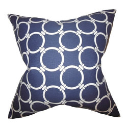 "The Pillow Collection - Betchet Geometric Pillow Blue 20"" x 20"" - Infuse a fun and modern style to your interiors by adding this accent pillow. This throw pillow features a bold geometric pattern in shades of white and blue. Crafted using 100% high-quality cotton fabric, this toss pillow is ideal for indoor use. Fill your living room, bedroom or lounge area with this transitional decor piece."
