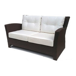 Wicker Paradise - Outdoor Wicker Loveseat - Sanibel - Create living room comfort in your outdoor space. This smart and stylish wicker loveseat features tufted back cushions for an extra plush appeal. It will surely inspire your friends and family to spend more time in the sun.