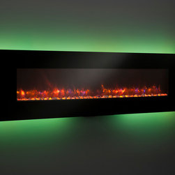 Modern Linear wall mount Electric Fireplace - A line of linear electric fireplaces that are so mesmerizing and so unique – you won't believe your eyes. Choose from 13 backlighting colors or leave it off. Turn on the heat to warm your room. These striking, easy to hang electric fireplaces, are sure to add ambiance to any room: kitchen, bedroom, game room, living room and more!