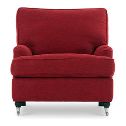 Bryght - Edward Red Armchair - A trendy English roll arm chair that exudes high style. Generous T- shaped back and seat cushions are plush and comfy while a solid structure provides ample support. Chrome casters add a perfect urban finish to this contemporary piece. The Edward collection is ideal when company's over or to simply snuggle up with a good book.