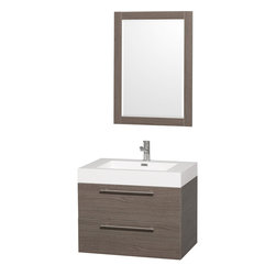 Wyndham - Amare 30in. Wall Vanity Set in Grey Oak w/ Acrylic-Resin Top and Integrated si - Modern clean lines and a truly elegant design aesthetic meet affordability in the Wyndham Collection Amare Vanity. Available with green glass or pure white man-made stone counters, and featuring soft close door hinges and drawer glides, you'll never hear a noisy door again! Meticulously finished with brushed Chrome hardware, the attention to detail on this elegant contemporary vanity is unrivalled.