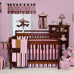 Trend Lab Maya 4 Piece Crib Bedding Set - The Trend Lab Maya 4-Piece Crib Bedding Set is a fun way to dress your daughter's crib. With a whimsical brown and pink combination in a variety of patterns this set includes the coverlet bumper sheet and skirt. All fabric items are machine-washable. This set coordinates with other pieces of the Maya collection.Additional features:Crib coverlet has cotton front and sherpa fleece backCrib coverlet has patchwork-style front with patches of pink with brown polka dots pink and brown stripes solid pink solid brownSkirt is made of pink cotton with brown polka dots and ultrasuede trim over pink and brown stripe accentSheet is solid pink cottonBumpers tie to crib for safety4 separate bumper pieces are more versatile on convertible cribsSlip-cover bumpers are pink and brown stripes with accents of brown ultrasuede and pink with brown polka dotsTrend Lab offers quality trend-right products that appeal to most parents. Even the name of the company expresses its commitment to market trends and emerging technology. To ensure you get only the best products Trend Lab uses fine materials and closely monitors the quality. With extensive experience in product development raw materials sourcing and manufacturing Trend Lab is able to deliver trendsetting products to the market.The extensive line of products includes crib bedding bumpers accent items gift items gift sets diaper bags and more. With all the coordinating pieces you can make your nursery both comfortable and visually appealing.