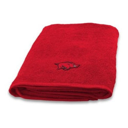 Northwest Company, The - University of Arkansas 100% Cotton Bath Towel - Show off your team spirit with this fun-looking bath towel. In your school team's color, bath towel features an embroidered school logo that's displayed when you fold or hang the towel over a towel rack.