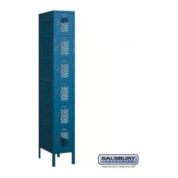 Salsbury Industries - Vented Metal Locker - Six Tier Box Style - 1 Wide - 6 Feet High - 18 Inches Deep - Vented Metal Locker - Six Tier Box Style - 1 Wide - 6 Feet High - 18 Inches Deep - Blue - Assembled