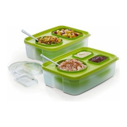 Chill Out and About - 14 Piece Set - Food safety is no joke, and even though you may be smiling when you turn down potato salad at the picnic, we both know it's because you just can't trust something that isn't properly refrigerated the way the Chill Out and About - 14 Piece Set keeps things cool. The idea is simple: Keep everything on ice. But if you want to serve, this set is the perfect way to keep your dishes ice cold, no matter the setting. A simple Tupperware-style design gives you various covered containers that can set easily into the lid of the base. All you need is to fill the base with ice and you've got a traveling buffet that's easy to set up, maintains a proper temperature, and is easy to clean when the fun is over. This set is perfect for use with cold salads, dip, sauces, fruit, and any other dishes that are best served cold.14-Piece Set Includes: 2 bases1 lid with 2 openings1 lid with 3 openings2 x 4-cup round container with lid4-cup rectangle container with lid2 x 1.5-cup rectangular container with lid Rectangular containers with lids This serving and storage system is an elegant solution to the everyday entertaining dilemma. It keeps food fresh for hours at parties or picnics, at home, or on the go. Just fill the base with water and freeze, or for last- minute get-togethers, add a mix of ice cubes and water. The interchangeable system lets you choose the perfect container combination to serve salads, hors d'oeuvres, dips, dressings, desserts, and more - and keeps everything cool and delicious for hours. The serving containers nest in ice, while the main tray lid protects the ice from dripping food and the serving containers from becoming unstable. In addition, the attractive design works with all decors and makes for a beautiful presentation. Finally, when the party is over, you can simply pop out the serving containers, snap on the lids, and store them in the fridge or freezer without using any additional dishes. Cleanup is a snap!