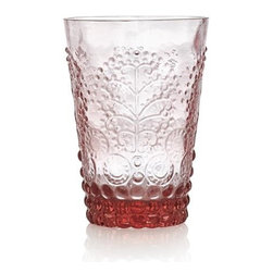 Alegre Rose Beverage Glass - Opulent play of pattern and texture adds vintage flair to contemporary glass. Versatile tumbler is crafted of glass, molded with lively embossed hobnails, disks and botanical flourishes to enhance servings of wine, water, soft drinks, and juice.