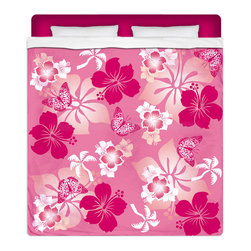 """Eco Friendly Queen Size Hawaiian """"Aloha Pink"""" Hibiscus and Butterflies Sheet Set - Our """"Aloha Pink"""" Queen Size Hawaiian Hibiscus Sheet Set is made of a lightweight microfiber for the ultimate experience in softness~ extremely breathable!"""