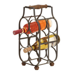 Benzara - Sheet Metal Wine Holder 16in.H, 8in.W - Size: 8 in. x7 in. x16 in.  Made with iron alloy solid wood
