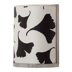 Lights Up! - Lights Up! RS-4035-BGL Meridian Single Light Wall Sconce - Lights Up! RS-4035-BGL Meridian Single Light Wall Sconce with Black Ginkgo Leaf ShadeElegant in its simplicity, this ten inch high Meridian wall sconce showcases a half-cylinder shaped Black Ginkgo Leaf Fabric Shade and plain metal hardware. Make a simple yet bold statement in any room with this handsome wall sconce.Lights Up! RS-4035-BGL Features: