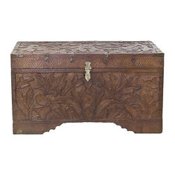 Hand-Carved Wood Trunk With Brass Accents - Distinctive antique cash trunk featuring incredibly detailed hand-carving. Trunk is comprised of a single compartment plus brass hinges and hardware.