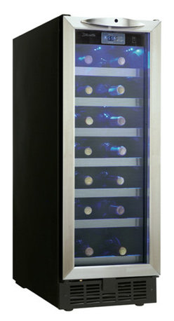 "Danby - 12"" Built-in Wine Cooler with 27-Bottle Capacity - Danby's DWC276BLS 27 Bottle Black with Stainless Steel Silhouette Wine Cellar is purposely designed to take up as little cabinet space as possible. This slim wine cellar is ideal for small kitchens, wet bars, or dens. At a mere 12 inches wide, you only need a single foot of cupboard space for this piece to fit. A stylish addition for any condominium, or space constrained apartment.27 bottle capacity