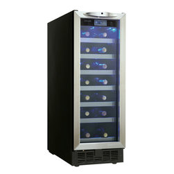 "Danby - 12"" Built-in Wine Cooler with 27-Bottle Capacity - Danby's DWC276BLS 27 Bottle Black with Stainless Steel Silhouette Wine Cellar is purposely designed to take up as little cabinet space as possible. This slim wine cellar is ideal for small kitchens, wet bars, or dens. At a mere 12 inches wide, you only need a single foot of cupboard space for this piece to fit. A stylish addition for any condominium, or space constrained apartment. 27 bottle capacity"