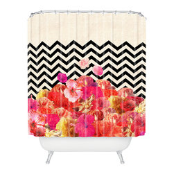 DENY Designs - Bianca Green Chevron Flora 2 Shower Curtain - Who says bathrooms can't be fun? To get the most bang for your buck, start with an artistic, inventive shower curtain. We've got endless options that will really make your bathroom pop. Heck, your guests may start spending a little extra time in there because of it!