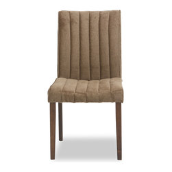 Bryght - 2 x Strip Umber Fabric Upholstered Dining Chair - The strip dining chair, with its sophisticated and contemporary style, offers long lasting comfort. This dining chair's unique display of individual parallel grooves sewn into its upholstery lends it a chic and luxurious feel