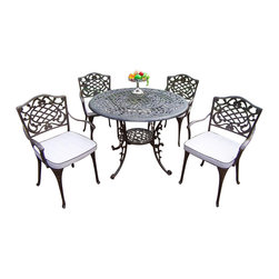 Oakland Living - Dining Set With Cushions, Antique Bronze, 5 Pieces - This 42 inch five piece dining set is the perfect piece for any outdoor dinner setting. Just the right size for any backyard or patio.