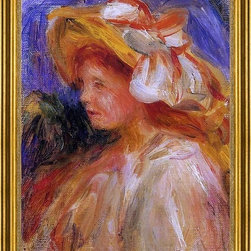 "Pierre Auguste Renoir-18""x24"" Framed Canvas - 18"" x 24"" Pierre Auguste Renoir Profile of a Young Woman in a Hat framed premium canvas print reproduced to meet museum quality standards. Our museum quality canvas prints are produced using high-precision print technology for a more accurate reproduction printed on high quality canvas with fade-resistant, archival inks. Our progressive business model allows us to offer works of art to you at the best wholesale pricing, significantly less than art gallery prices, affordable to all. This artwork is hand stretched onto wooden stretcher bars, then mounted into our 3"" wide gold finish frame with black panel by one of our expert framers. Our framed canvas print comes with hardware, ready to hang on your wall.  We present a comprehensive collection of exceptional canvas art reproductions by Pierre Auguste Renoir."