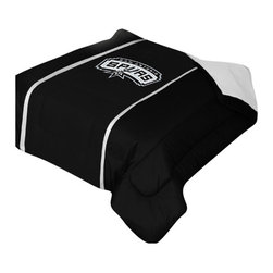 "Zappysales - San Antonio Spurs Sidelines Comforter Queen - Comforter Full/Queen 86"" x 86"". Covers are 100% Polyester Jersey top and bottom side, filled with 100% Polyester Batting. Logos are screenprinted. Machine washable in warm water, and tumble dry on low heat."