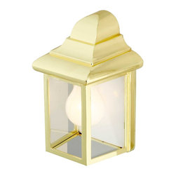 Renovators Supply - Outdoor Lighting Bright Brass Outdoor Light - Outdoor Lights: Our Standard Wall Outdoor Light is solidly built & finished in polished brass. Its elegant vintage design is the perfect feature for a patio or entryway. This measures 8 1/2 inches high, 5 3/4 inches wide and projects 4 1/2 inches.
