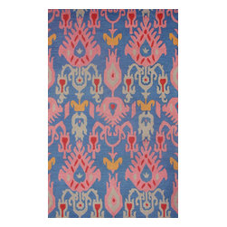 """nuLOOM - Transitional 8' 6"""" x 11' 6"""" Blue Hand Hooked Area Rug Ikat VE03 - Made from the finest materials in the world and with the uttermost care, our rugs are a great addition to your home."""