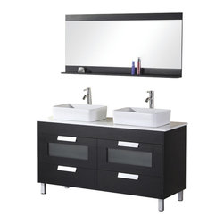 "Design Element - Design Element Francesca 55"" Wenge Modern Double Vessel Sink Vanity Set - The rich black wood cabinet of the Franchesca Double Sink Vanity, is a beautiful contemporary touch to any bathroom. Two ceramic sinks nest atop a composite stone countertop and a solid waterproofed cabinet constructed of a birch frame and hardwood paneling that will withstand years of use."