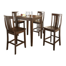 Crosley Furniture - 5 Pc Pub Dining Set w Shield Back Stools in M - Includes Pub Table and 4 Stools in Vintage Mahogany. Solid Hardwood & Veneer Construction Table . Solid Hardwood Stools. Hand Rubbed, Multi-Step Finish. Solid Hardwood Tapered Legs. Shaped Back for Comfort. Table Dimensions: 36 in. H x 32 in. W x 32 in. D. Stool Dimensions: 40 in. H x 18.5 in. W x 22.5 in. DConstucted of solid hardwood and wood veneers, the 5 piece Pub / High Dining set is built to last. Whether you are looking for dining for four, or just a great addition to the basement or bar area, this set is sure to add a touch of style to any area of your home.