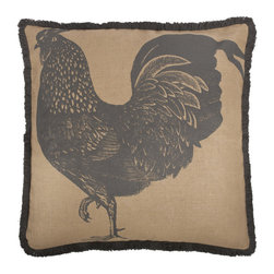 Thomas Paul - Prize Poultry Rooster Jute Pillow, 26x26 - If only it was possible to sew all the Thomas Paul pillows together into a sofa. It would be the most talked about sofa in town. All the bright colored fauna and flora, the patchwork of silk and linen--it would truly be a masterpiece. The only thing that keeps us from doing this is--we don't know how to sew. And then there is that business about somehow attaching legs. We're even more clueless on how to do that.