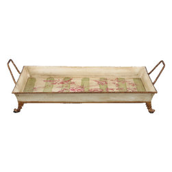 Oriental Danny - Hand Painted Toile Tray - Add additional flair to your next cocktail party with this stylish serving tray. Present your favorite beverages against a backdrop of fuchsia flowers and light green stripes to complement the warm and welcoming atmosphere you foster.