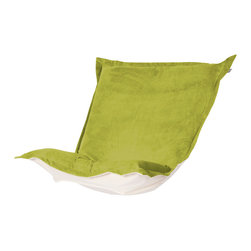 Howard Elliott - Mojo Kiwi Puff Chair Cushion - Extra Puff Cushions in Mojo are a great way to get a fresh new look without the expense of buying a whole new chair! Puff Cushions fit Scroll and Rocker frames. This Mojo cushion features a suede-like texture in a vibrant kiwi green color. Mojo Kiwi, suede-like texture in a bold kiwi green color. 40 in. W x 49 in. L x 7 in.