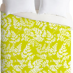 DENY Designs - DENY Designs Aimee St Hill Spring 3 Duvet Cover - Always sunny. Forty winks look fabulous with the Aimee St Hill Spring 3 Duvet Cover from DENY Designs. Silhouetted leaves are the focal point of this artist-designed piece, custom-created using a six-color printing technique that directly dyes the buttery-soft woven front. A cozy cotton-blend on the backside was created for cuddling. Pairs perfectly with a vase of fresh blooms. Talk about beauty rest! Pillowcases not includedAvailable in multiple sizesZip closureInterior corner tiesCustom printed for every orderWoven polyester front / cotton-polyester backMachine washableDesigned by Aimee St HillMade in the USAShips in 1 week