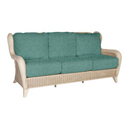 Porto Alegre Sofa- Sea Foam - Finished in Antique White, the Porto Alegre collection features a hand woven herringbone weave. Perfect for a sunroom and designed for maximum comfort, it will meet all your relaxation needs.
