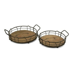 IMAX Worldwide Home - Traineur Serving Trays - Set of 2 - Set of 2. Material: 60% Wrought Iron, 40% Fir Wood. 4.-4.5 in. H x 14-16.25 in. W x 11.5-13.25 in. D. Weight: 4.75 lbs.Reminiscent of oak barrels used to age wine, the Traineur serving trays has antiqued logo graphics and wrought iron wine bottle holders.
