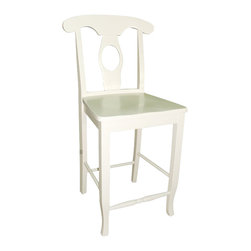 "International Concepts - International Concepts Empire 24"" Solid Wood Seat Stool in Linen White - International Concepts - Bar Stools - S31122W"