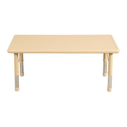 "Ecr4kids - Ecr4Kids Preschool Playroom 48"" Rectangle Resin Table Sand - Tabletop made of fade-resistant Polyethylene that will not crack, chip or peel. Features reinforced steel frame. Easy to clean and sanitize. Legs adjust in 1 increments from 13.25 to 22.25. Choose from one of our Soft Tone Colors."
