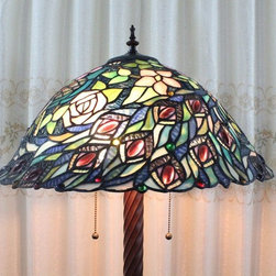 Pink Roses Peacock Tiffany Style Floor Lamp - Pink Roses Peacock Tiffany Style Floor Lamp