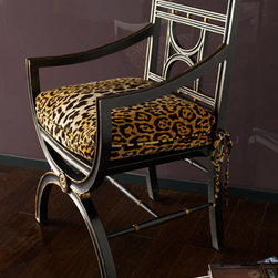 """John-Richard Collection - John-Richard Collection """"Cheetah"""" Roman Chair - Ebony chair with gilded accents and loose cheetah-patterned seat cushion is from the John-Richard Collection. Seat cushion is cotton with a feather/foam fill. 25""""W x 20""""D x 38.5""""T, with 22"""" seat height and 28"""" arm height. Imported."""