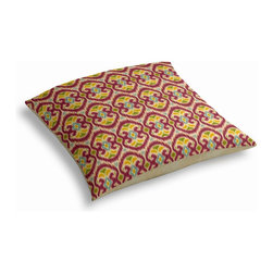 "Magenta Ikat Custom Floor Pillow - A couch overflowing with friends is a great problem to have.  But don't just sit there: grab a Simple Floor Pillow.  Pile """"""em up for maximum snugging or set around the coffee table for a casual dinner party.  We love it in this bright magenta, aqua & yellow eclectic ikat on textured cream cotton. the spicy, bustling bazaar brought home to you!"