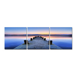 Sunrise Pier 3 Piece Photo, 20x60 - Artcorner offers affordable three-panel wall art for any type of interior wall space. We design each of our wall pieces by mounting beautiful hi-resolution images to high-quality, solid-wood panels. Our decorative wall-art sets are available in three different sizes and can be hung in commercial and office spaces as well as any area of the home. Panels are designed for durability and moisture resistance. Any piece can hang in bathrooms and kitchens without being damaged by heat and moisture.