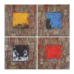 Uttermost - Primary Blocks Wall Art Set of 4 - This colorful artwork has been hand painted on reclaimed wood. Due to the handcrafted nature of this artwork, each piece may have subtle differences.