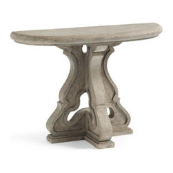 Grandin Road - Arabella Console Table - Half-oval console table. Crafted from a durable combination of crushed stone, resin and fiberglass. Hand painted, multi-tonal finish designed for an elegant life outdoors. No two are exactly alike. Some assembly required. Cultivate an elegant vignette outdoors with our half-oval console table that has the look of carved stone, but is crafted from durable, lightweight polystone. With Arabella in your garden room, you'll have the perfect spot to park your watering can or set out a tray of tea sandwiches.  .  .  .  .  .